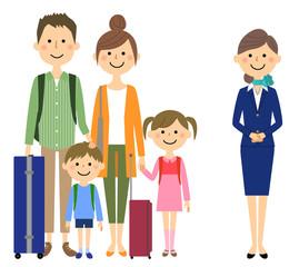 家族と制服の女性