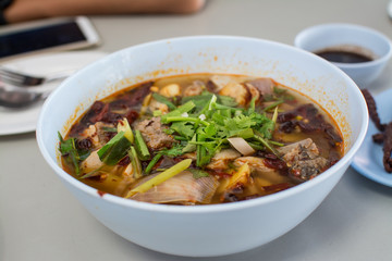 hot and spicy soup with pork ribs.