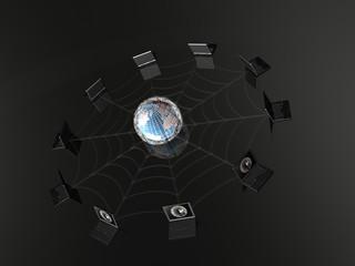 Globe and laptops