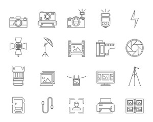 Photography Signs Black Thin Line Icon Set. Vector