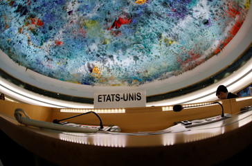 The name place sign of the United States is pictured during a session of the Human Rights Council at the United Nations in Geneva