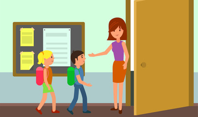 Kids enter classroom background. Flat illustration of kids enter classroom vector background for web design