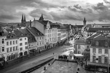 Black and white view into Trier