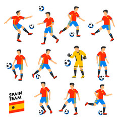 Spain football team. Spain soccer players. Full Football team, 11 players. Spanish Soccer players on different positions playing football. Colorful flat style illustration. Football cup.