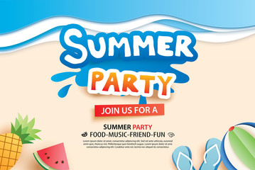 Summer beach party with paper cut symbol and icon for invitation background. Art and craft style. Use for ads, banner, poster, card, cover, stickers, badges, illustration design.
