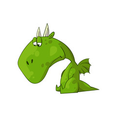 Colorful vector illustration of a cartoon sad dragon