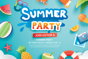 Summer party with paper cut symbol and icon for invitation background. Art and craft style. Use for ads, banner, poster, card, cover, stickers, badges, illustration design.
