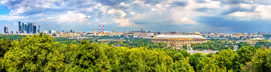 Poster Moscow Panorama of Moscow with Luzhniki Stadium and Moscow City Business District