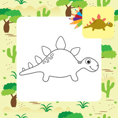 Cute cartoon Dino coloring book