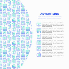 Advertising concept with thin line icons: billboard, street ads, newspaper, magazine, product promotion, email, GEO targeting, social media, strategy. Vector illustration, web page template.