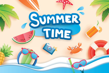 Summer time with paper cut symbol icon for vacation beach background. Art and craft style. Use for banner, poster, card, cover, stickers, badges, illustration design.