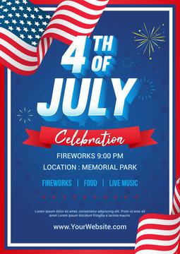 4th of July poster templates Vector illustration, USA flag waving frame with fireworks on blue star pattern background. Flyer design