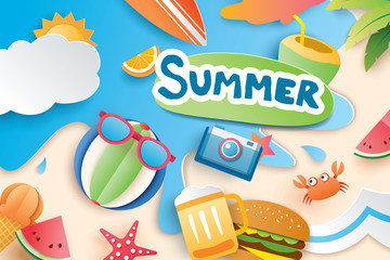 Hello summer with paper cut symbol icon for vacation beach background. Art and craft style. Use for banner, poster, card, cover, stickers, badges, illustration design.