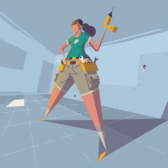 female holding a drill in her hand illustration