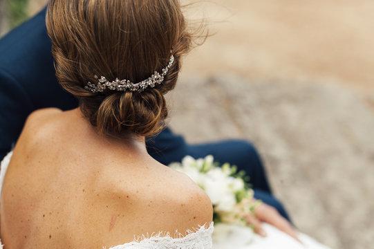 Close up of brides jewel headdress