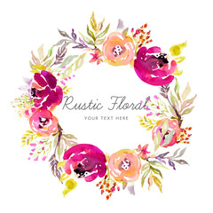 Rustic floral wreath in watercolor style