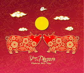 Oriental Chinese New Year 2019 background. Year of the pig