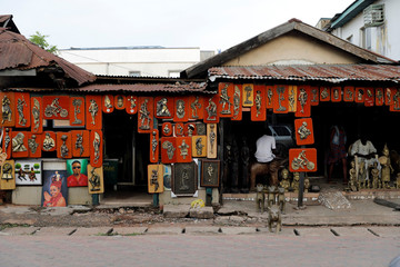 Art works are displayed for sale on Igun street in Benin City