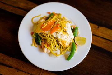 Thai mixed seafood egg noodles
