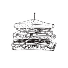 Vector Hand Drawn Sandwich with a Teethpick, Doodle Freehand Drawing, Sketched Food.