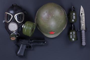 military equipment, pistol, mask
