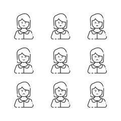 Female user icon linear vector set