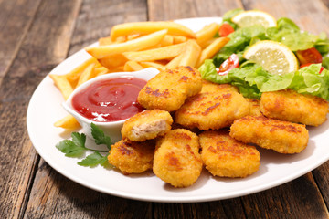 nugget, french fries and salad