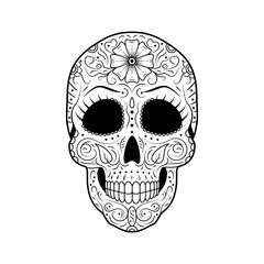 Black and white Day of The Dead Sugar Skull with detailed floral ornament. Mexican symbol calavera. Hand drawn line vector illustration. Sketch with eyelashes, pattern, flowers and leaves