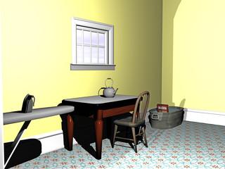 Altmodisches Wohnzimmer mit Möbeln