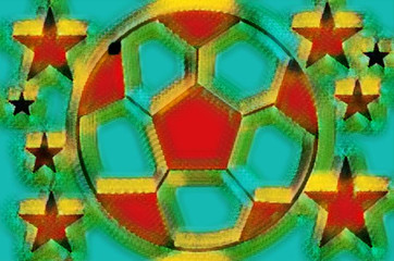 Decorative soccer ball and stars image with neural network effect