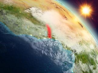 Togo in sunrise from orbit
