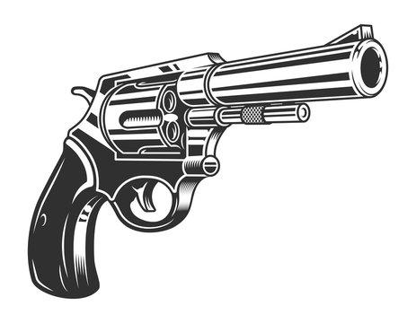 Vintage monochrome six shooter revolver concept