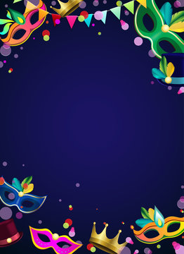 Blue carnival background with colour masks and confetti.