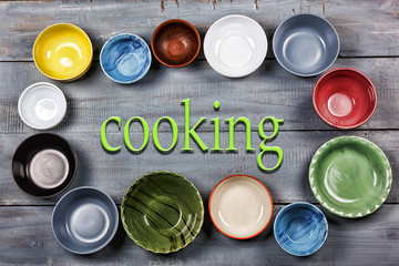 Crockery, plates, bowls, concept, cooking food, Multicolored, empty, wooden, gray, table