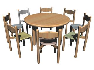 Wohnungseinrichtung mit Stühlen und Tisch