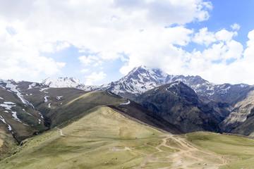 View of the Kazbek mountain peak in the Caucasus, Georgia