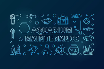 Aquarium maintenance blue vector banner on dark background