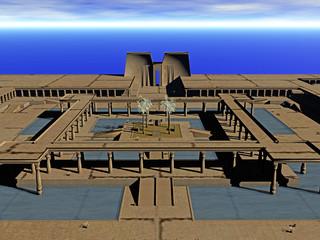 Wüstenstadt mit Säulengang