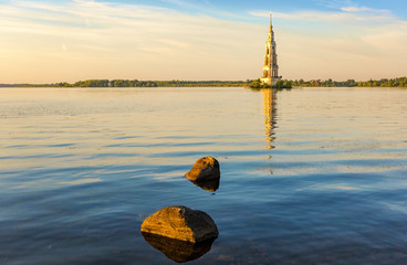 Flooded bell tower in Kalyazin - the main landmark of the city, Tver region, Russia
