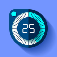 Stopwatch icon in flat style, round timer on color background. Sport clock. 25 seconds. Vector design element for you business project