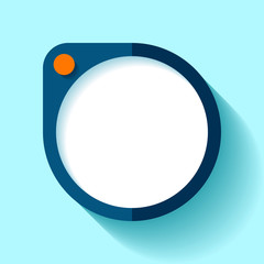 Empty digital object in flat style, round gadget on blue background. Simple element. Orange button. Vector design element for you project