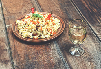 East pilaf, Glass, clean water, wooden table,