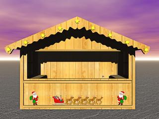 Hütte auf dem Weihnachtsmarkt  Wall mural