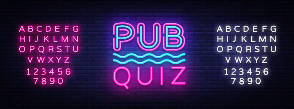 Pub Quiz night announcement poster vector design template. Quiz neon signboard, light banner. Pub quiz held in pub or bar, night club. Pub team game. Questions game. Vector. Editing text neon sign