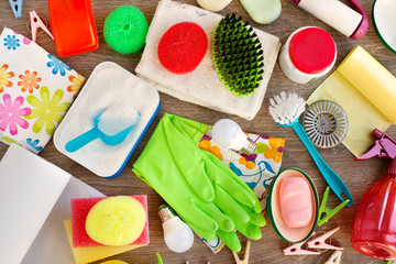 Household items in different forms. Washing powder, garbage bags, rubber gloves, soap, sponges, brushes for cleaning the house and washing clothes. House utensils for cleanliness.