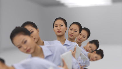 corporate dance of Asian business woman