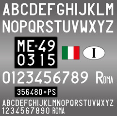 Italy old car license plate, letters, numbers and symbols, vintage style