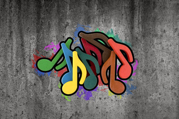 Graffiti of colorful music notes on the wall