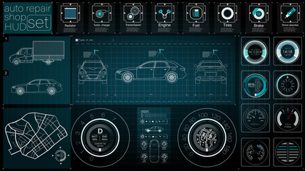 Infographics of freight transport and transportation.Template of automobile infographics. Abstract virtual graphic touch user interface. Cars diagnostic. Template mobile car repair apps. HUD style.