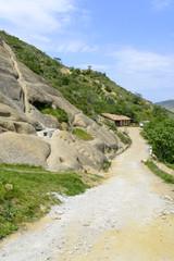 View of David Gareja (Gareji cave) monastery complex aerial view in Kakheti, Georgia.
